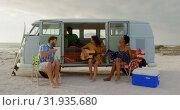Купить «Friends playing guitar and singing song 4k», видеоролик № 31935680, снято 9 января 2019 г. (c) Wavebreak Media / Фотобанк Лори