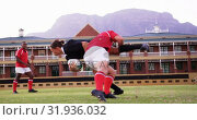 Купить «Male rugby players playing rugby in the stadium 4k», видеоролик № 31936032, снято 16 января 2019 г. (c) Wavebreak Media / Фотобанк Лори