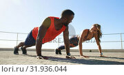 Купить «Couple doing push-up exercise on a promenade at beach 4k», видеоролик № 31936044, снято 24 января 2019 г. (c) Wavebreak Media / Фотобанк Лори