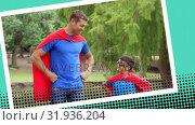 Купить «Dad and his son playing superheroes», видеоролик № 31936204, снято 25 апреля 2019 г. (c) Wavebreak Media / Фотобанк Лори