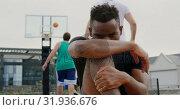 Купить «Basketball player sitting in basketball court 4k», видеоролик № 31936676, снято 30 января 2019 г. (c) Wavebreak Media / Фотобанк Лори
