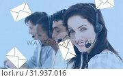 Купить «Smiling call centre agent», видеоролик № 31937016, снято 17 апреля 2019 г. (c) Wavebreak Media / Фотобанк Лори
