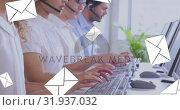 Купить «Call centre line up taking calls 4k», видеоролик № 31937032, снято 17 апреля 2019 г. (c) Wavebreak Media / Фотобанк Лори