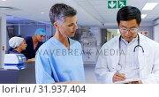 Купить «Medical team discussing over report 4k», видеоролик № 31937404, снято 26 января 2019 г. (c) Wavebreak Media / Фотобанк Лори