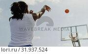 Купить «Basketball player playing basketball 4k», видеоролик № 31937524, снято 30 января 2019 г. (c) Wavebreak Media / Фотобанк Лори