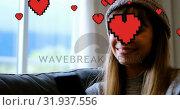 Купить «Woman texting on the couch 4k», видеоролик № 31937556, снято 25 апреля 2019 г. (c) Wavebreak Media / Фотобанк Лори