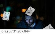 Купить «Male hacker 4k», видеоролик № 31937844, снято 17 апреля 2019 г. (c) Wavebreak Media / Фотобанк Лори