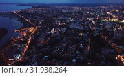 Купить «Aerial view of modern Voronezh cityscape in night lights, Russia», видеоролик № 31938264, снято 27 мая 2019 г. (c) Яков Филимонов / Фотобанк Лори