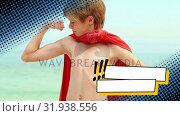 Купить «Little kid showing off biceps while wearing a cape», видеоролик № 31938556, снято 25 апреля 2019 г. (c) Wavebreak Media / Фотобанк Лори