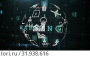 Купить «Application icons and cyber security», видеоролик № 31938616, снято 30 апреля 2019 г. (c) Wavebreak Media / Фотобанк Лори