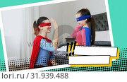 Купить «Mother fixing her daughters superhero costume», видеоролик № 31939488, снято 25 апреля 2019 г. (c) Wavebreak Media / Фотобанк Лори