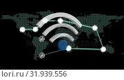 Купить «WiFi symbol and a world map », видеоролик № 31939556, снято 8 мая 2019 г. (c) Wavebreak Media / Фотобанк Лори