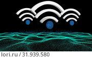 Купить «WiFi symbol and a land graph», видеоролик № 31939580, снято 8 мая 2019 г. (c) Wavebreak Media / Фотобанк Лори