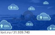 Купить «Upload in the digital cloud», видеоролик № 31939740, снято 14 мая 2019 г. (c) Wavebreak Media / Фотобанк Лори