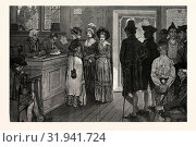 WOMEN AT THE POLLS IN NEW JERSEY IN THE GOOD OLD TIMES, DRAWN BY HOWARD PYLE, US, USA, AMERICA, UNITED STATES, AMERICAN, ENGRAVING 1880, POLITICS, POLITICAL, POLITIC, CAMPAIGN, PATRIOTIC. (2013 год). Редакционное фото, фотограф Artokoloro / age Fotostock / Фотобанк Лори