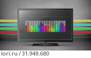 Купить «Rainbow coloured bar chart on a flatscreen», видеоролик № 31949680, снято 13 июня 2019 г. (c) Wavebreak Media / Фотобанк Лори