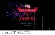 Купить «United States of America, Independent since 1776 text in banner and fireworks», видеоролик № 31950772, снято 24 мая 2019 г. (c) Wavebreak Media / Фотобанк Лори