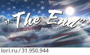 Купить «The End sign in the sky and the American flag», видеоролик № 31950944, снято 13 июня 2019 г. (c) Wavebreak Media / Фотобанк Лори