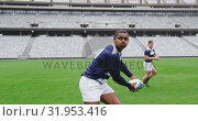 Купить «Male rugby players playing rugby match in stadium 4k», видеоролик № 31953416, снято 9 мая 2019 г. (c) Wavebreak Media / Фотобанк Лори