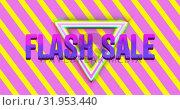 Купить «Flash sale graphic and colourful triangles on pink and yellow diagonal striped background 4k», видеоролик № 31953440, снято 5 июля 2019 г. (c) Wavebreak Media / Фотобанк Лори