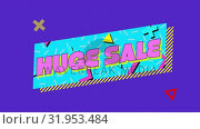 Купить «Huge sale graphic in blue banner with moving colourful circles and purple background», видеоролик № 31953484, снято 5 июля 2019 г. (c) Wavebreak Media / Фотобанк Лори