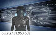 Купить «Female android form in front of glowing computer circuit board», видеоролик № 31953668, снято 8 июля 2019 г. (c) Wavebreak Media / Фотобанк Лори