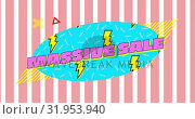 Купить «Massive sale graphic in blue oval with lightning flashes on a pink and white striped background 4k», видеоролик № 31953940, снято 5 июля 2019 г. (c) Wavebreak Media / Фотобанк Лори