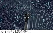 Купить «Robot hand and glowing white circuit board», видеоролик № 31954064, снято 8 июля 2019 г. (c) Wavebreak Media / Фотобанк Лори