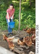 Купить «Female farmer on poultry farm», фото № 31956308, снято 23 января 2020 г. (c) Яков Филимонов / Фотобанк Лори