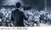 Купить «Public speaker giving talk at business event.», фото № 31958592, снято 19 августа 2019 г. (c) Matej Kastelic / Фотобанк Лори