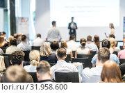 Купить «Male business speaker giving a talk at business conference event.», фото № 31958600, снято 15 июня 2018 г. (c) Matej Kastelic / Фотобанк Лори