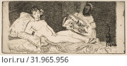 Olympia (small plate), 1867, Etching and aquatint on laid paper, state II of VI, plate: 3 3/8 x 8 1/8in. (8.6 x 20.6cm), Prints, Édouard Manet (French, Paris 1832–1883 Paris) (2017 год). Редакционное фото, фотограф © Copyright Artokoloro Quint Lox Limited / age Fotostock / Фотобанк Лори