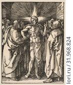 Купить «The Doubting Thomas, from The Small Passion, ca. 1510, Woodcut, sheet: 5 x 7/8 in. (12.7 x 2.1 cm), Prints, Albrecht Dürer (German, Nuremberg 1471–1528 Nuremberg)», фото № 31968824, снято 26 апреля 2017 г. (c) age Fotostock / Фотобанк Лори