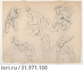 Nude Figures, after Ruben's 'Fall of the Rebel Angels', ca. 1820–22, Brown ink over graphite on laid paper, sheet: 8 1/4 x 12 3/8 in. (20.9 x 31.4 cm... (2017 год). Редакционное фото, фотограф © Copyright Artokoloro Quint Lox Limited / age Fotostock / Фотобанк Лори