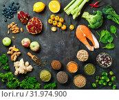 Clean Eating concept. Copy space. Top view or flat lay. Стоковое фото, фотограф Ольга Сергеева / Фотобанк Лори