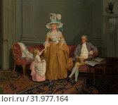 The Saithwaite Family, ca. 1785, Oil on canvas, 38 3/4 x 50 in. (98.4 x 127 cm), Paintings, Francis Wheatley (British, London 1747–1801 London), Wheatley... (2017 год). Редакционное фото, фотограф © Copyright Artokoloro Quint Lox Limited / age Fotostock / Фотобанк Лори