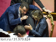 Minister of the Interior and Deputy Prime Minister, Matteo Salvini, Minister of Public Administration Giulia Bongiorno in the Senate during the vote of... (2019 год). Редакционное фото, фотограф Pierpaolo Scavuzzo / AGF/Pierpaolo Scavuzzo / AGF / age Fotostock / Фотобанк Лори