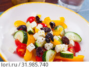 Купить «Greek vegetable salad with cheese and olive oil», фото № 31985740, снято 2 июня 2020 г. (c) Яков Филимонов / Фотобанк Лори