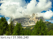 Colorful top view to Sassolungo mountain in the clouds on a Sunny summer day from Passo Sella di val Gardena Dolomites, South Tyrol, alto adige, Italy. Langkofel in the Dolomiti Alps above Pass Pordoi. Редакционное фото, фотограф Алексей Ширманов / Фотобанк Лори