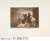 Plate 51 from 'The Disasters of War' (Los Desastres de la Guerra): 'Thanks to the millet.' (Gracias á la almorta.), 1811–12 (published 1863), Etching... (2017 год). Редакционное фото, фотограф © Copyright Artokoloro Quint Lox Limited / age Fotostock / Фотобанк Лори