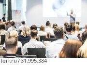 Купить «Male business speaker giving a talk at business conference event.», фото № 31995384, снято 15 июня 2018 г. (c) Matej Kastelic / Фотобанк Лори