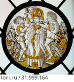 Roundel with Martyrdom of Saint Leger, ca. 1490, Made in Upper Rhineland, Germany, German, Colorless glass, vitreous paint and silver stain, Overall: 8 1/2 in. (21.6 cm), Glass-Stained (2017 год). Редакционное фото, фотограф © Copyright Artokoloro Quint Lox Limited / age Fotostock / Фотобанк Лори