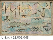 The Rhine at Duisburg, 1937, Gypsum, oil, and charcoal on cardboard, 7 1/2 × 11 in. (19.1 × 27.9 cm), Paintings, Paul Klee (German (born Switzerland... (2017 год). Редакционное фото, фотограф © Copyright Artokoloro Quint Lox Limited / age Fotostock / Фотобанк Лори