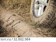 Dirty car wheel is on wet rural roadside. Стоковое фото, фотограф EugeneSergeev / Фотобанк Лори