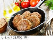 Купить «Buckwheat  burgers on the pan», фото № 32003104, снято 11 мая 2019 г. (c) Надежда Мишкова / Фотобанк Лори