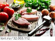 Купить «Raw meat pork», фото № 32003112, снято 26 мая 2019 г. (c) Надежда Мишкова / Фотобанк Лори