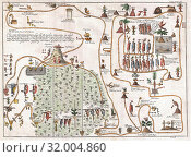 1704, Gemelli Map of the Aztec Migration from Aztlan to Chapultapec (2017 год). Редакционное фото, фотограф © Artokoloro Quint Lox Limited / age Fotostock / Фотобанк Лори