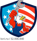 Купить «Illustration of a american bald eagle mechanic holding spanner looking to the side set inside shield crest with usa american stars and stripes flag in the background done in cartoon style.», фото № 32006840, снято 5 июля 2020 г. (c) easy Fotostock / Фотобанк Лори