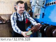Купить «Male worker repairing shoe», фото № 32016328, снято 2 февраля 2017 г. (c) Яков Филимонов / Фотобанк Лори