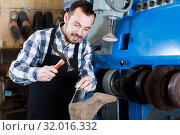 Купить «Worker using instruments for fixing in shoes workshop», фото № 32016332, снято 2 февраля 2017 г. (c) Яков Филимонов / Фотобанк Лори